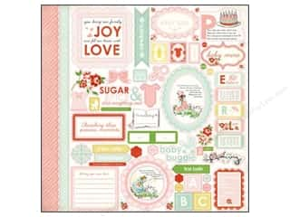 Caption Stickers / Frame Stickers: Carta Bella Sticker 12 x 12 in. Baby Mine Girl Element (15 pieces)