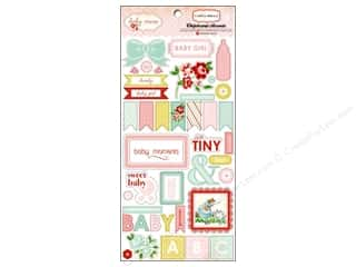 Carta Bella Hearts: Carta Bella Chipboard Accents Baby Mine Adhesive Girl
