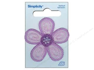 Wrights Embroidered Appliques: Simplicity Iron On Applique Lavender Daisy with Beads