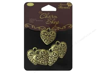 Quilter's Gift Shop Hearts: Sweet Beads Charms Metal Heart 5 pc. Ox Brass