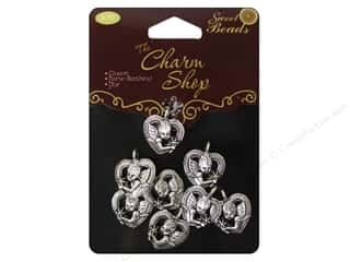 Quilter's Gift Shop Hearts: Sweet Beads Charms Metal Angel  8 pc. Silver