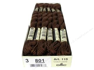 Yarn & Needlework Brown: DMC Pearl Cotton Skein Size 3 #801 Dark Coffee Brown (12 skeins)