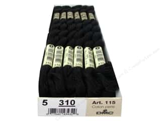 Black: DMC Pearl Cotton Skein Size 5  Black (12 skeins)