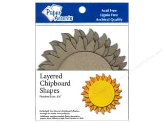Paper Accents Chipboard Shape Layered Sun 6pc. Kraft