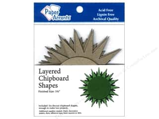 Paper Accents Chipboard Layered Starburst 6pc. Kraft