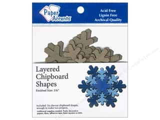 Christmas Brown: Paper Accents Chipboard Shape Layered Snowflake 6 pc. Kraft