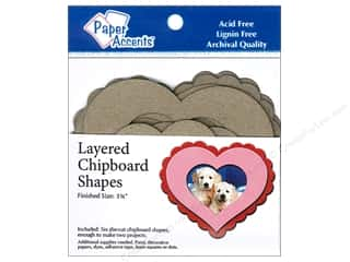 Valentine's Day Gifts Basic Components: Paper Accents Chipboard Shape Layered Hearts 6 pc. Kraft