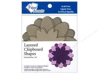 Chipboard Shapes  Flowers: Paper Accents Chipboard Shape Layered Flower 6pc. Kraft