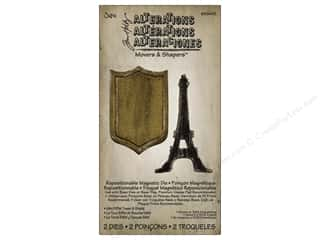 Dies Vacations: Sizzix Movers & Shapers Magnetic Die Set 2PK Mini Eiffel Tower & Shield by Tim Holtz