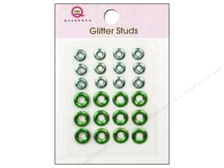 Queen & Company Metal: Queen&Co Sticker Glitter Studs Lifesaver Green