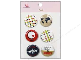 Queen & Company Novelty Buttons: Queen&Co Sticker Travel Flair