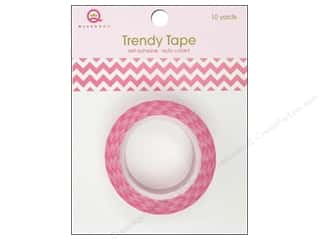 Queen&Co Trendy Tape 10yd Horizontal Chevron Pink