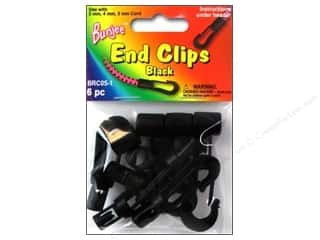 Pepperell Bungee Bracelet End Clips Black 6pc