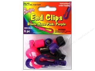 Cording $5 - $6: Pepperell Bungee Cord Bracelet End Clips Black/Neon Pink/Neon Purple 6pc