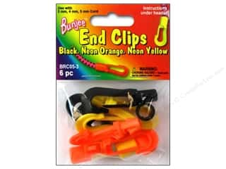 Cording $5 - $6: Pepperell Bungee Cord Bracelet End Clips Black/Neon Orange/Neon Yellow 6pc