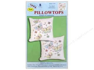 Stamped Goods Home Decor: Jack Dempsey Pillowtop Fluttering Butterflies White