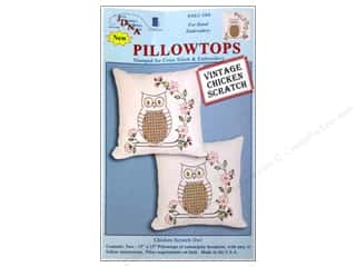 Stamped Goods $10 - $15: Jack Dempsey Pillowtop Chicken Scratch Owl White