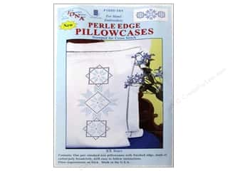 square hoop: Jack Dempsey Pillowcase Perle Edge White XX Stars