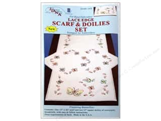 Stamped Goods Home Decor: Jack Dempsey Scarf & Doily Set Lace Edge Fluttering Butterflies