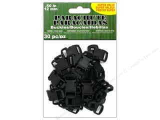 Pepperell Parachute Cord Buckle 12mm Black 30pc