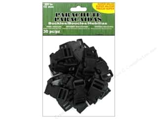 Pepperell Braiding Co. Black: Pepperell Parachute Cord Accessories Buckle 15mm Black 30pc