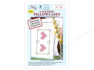 Pillow Shams Jack Dempsey Pillowcase Lace Edge White: Jack Dempsey Pillowcase Lace Edge White Chicken Scratch Heart