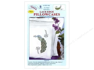 Jack Dempsey Jack Dempsey Pillowcase Lace Edge White: Jack Dempsey Pillowcase Lace Edge White Peacock