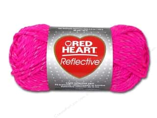 Red Heart Yarn: C&C Red Heart Reflective Yarn 3.5oz Neon Pink