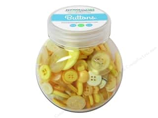 NEW EK Jolees Boutique Embellishments: Buttons Galore Button Jar 5oz Zesty Yellow