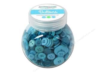 NEW EK Jolees Boutique Embellishments: Buttons Galore Button Jar 5oz Blue Lagoon