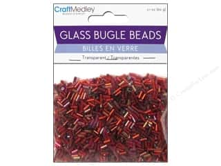 Yarn Burgundy: Multicraft Beads Bugle Transparent 2x5mm Rouge Tints