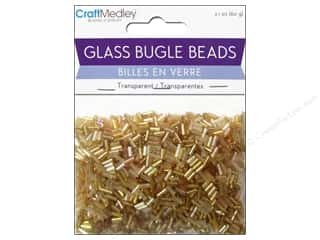 Multicraft Beads Bugle Trans 2x5mm Gold Nugget