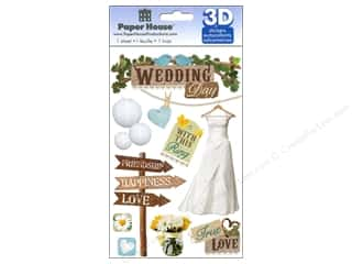 Wedding Brown: Paper House Sticker 3D Wedding