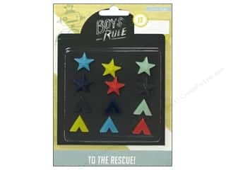 Brothers Glass: Crate Paper Embellishments Boys Rule Resin Shapes
