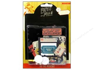 Brothers Papers: Crate Paper Embellishments Boys Rule Ephemera Pack