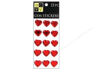DieCuts Sticker Gem Large Hearts Red