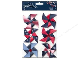 Scrapbooking Dimensional Stickers: Pebbles Sticker Americana Dimensional Pinwheels