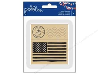 "Pebbles Inc 4"": Pebbles Stamp Wood Americana American Flag & 4th Of July Postage"