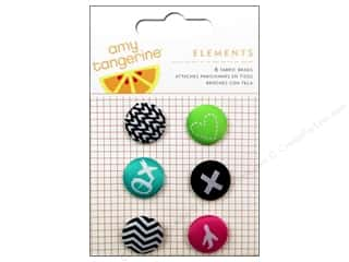 Plus Hearts: American Crafts Elements Brads 6 pc. Amy Tangerine Plus One Fabric