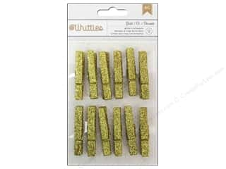 Clothespins: American Crafts Clothespins 12 pc. Gold Glitter