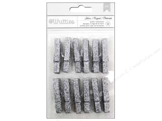 Clothespins: American Crafts Clothespins 12 pc. Silver Glitter