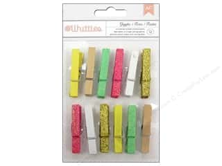 Clothespins: American Crafts Clothespins 12 pc. Charm Glitter & Solid