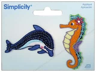Simplicity Trim Black: Simplicity Appliques Iron On Dolphin/Seahorse