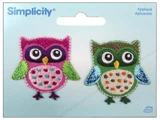 Simplicity Trim Black: Simplicity Appliques Iron On Owls Pink/Green