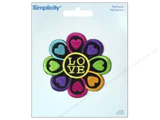 Simplicity Trim Black: Simplicity Appliques Iron On Flower with Love