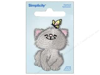Simplicity Appliques Iron On Cat With Butterfly