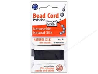 Beadalon Needles: Beadalon Bead Cord 100% Silk Size 4 Black 2M