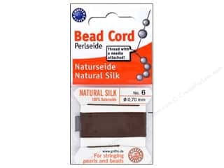 Beadalon Silk Cord: Beadalon Bead Cord 100% Silk Size 6 Brown 2M
