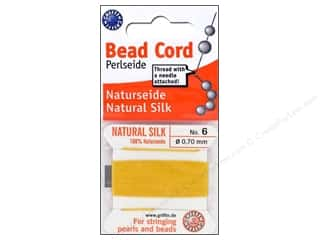 Beadalon Silk Cord: Beadalon Bead Cord 100% Silk Size 6 Yellow 2M