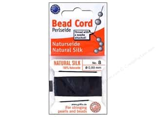 Beadalon Black: Beadalon Bead Cord 100% Silk Size 8 Black 2M